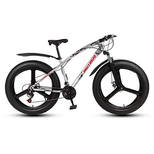 CHERRIESU Bicicleta de montaña para Hombres y Mujeres Adultos, Bicicleta de Deporte de la montaña, MTB con 27 etapas de turnos, neumático de Grasa de 26 Pulgadas con 3 Ruedas de Cuchillo,Plata