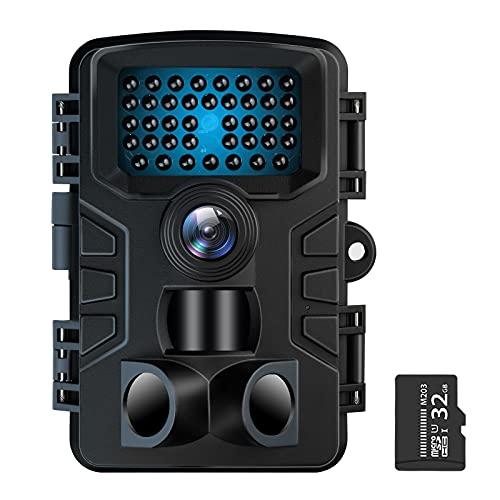 防犯カメラ トレイルカメラ VANBAR のデザイン+32GTFカード付き 屋外カメラ 監視カメラ ぼうはんかめら 赤外線カメラ 電池式 暗視カメラ 120°撮影範囲 人感センサー IP66防水防塵 野外用 2000万画素 1080PフルHD 夜間不可視赤外線ライト搭載 上書き録画 36ヶ月保証 日本語取扱説明書付き