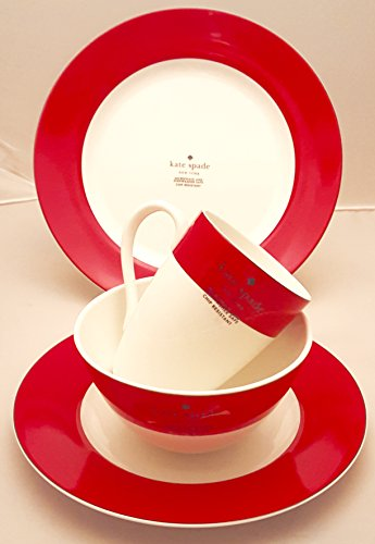 4-Piece Kate Spade Lenox Rutherford Circle Red Pattern Dinner & Salad Plate, Bowl & Tea/Coffee Cup Set