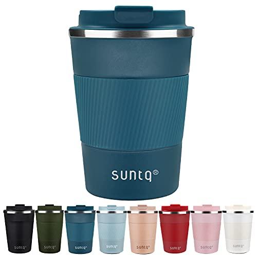 SUNTQ Kaffeebecher to go Thermo aus Edelstahl - Thermobecher mit Gummierte Manschette Doppelwand Isoliert - Kaffeetasse mit Auslaufsicherem Deckel Wiederverwendbar 380ml Blau