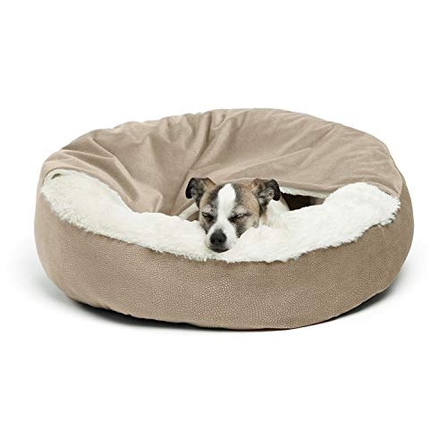 Cozy Cuddler Luxury Orthopedic Dog and Cat Bed with Hooded Blanket for Warmth and Security - Machine Washable, Water/Dirt Resistant Base - Standard Wheat