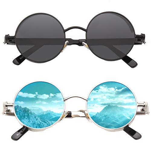 CGID Retro solglasögon i steampunkstil rund metallbåge polariserade glasögon herr dam, CAT3, CE, E72