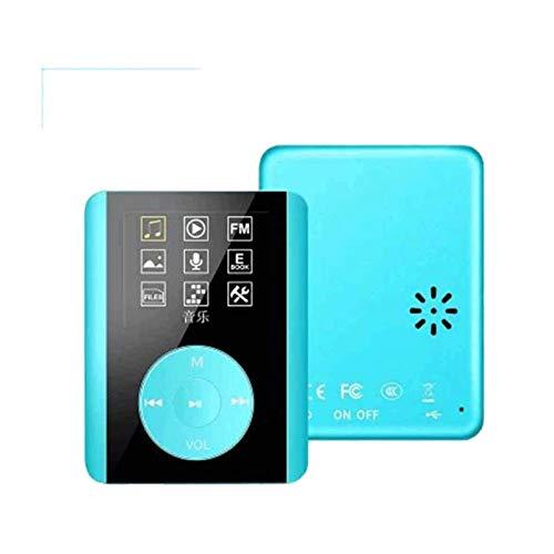 Sdesign Reproductor de MP3 Bluetooth de 16 GB, Sonido portátil, Sonido de Alta fidelidad, reproducción de música de Alta fidelidad, Radio, grabadora de Voz, Soporte para 64 GB (Color : Blue)