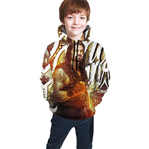 Roman Reigns-9 3D Print Casual Jugend Athletic Pullover Kinder Kapuzen Trainingsanzug Sweatshirt L(14-16)