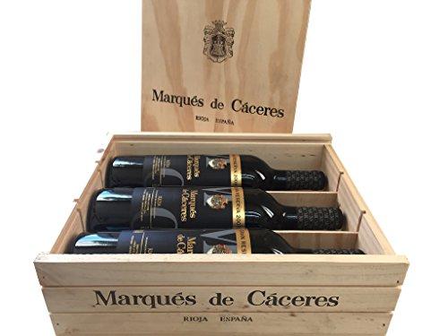 Caja de madera 3 botellas - Marqués de Caceres Gran Reserva - Vino tinto