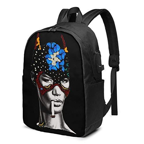 Hdadwy Grace Jones Mochila para portátil de Moda y cómoda Mochila de Senderismo Informal con Puerto de Carga USB de 17 Pulgadas, Adecuada para Hombres y Mujeres