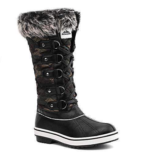 ALEADER Women's Lace Up Waterproof Winter Snow Boots Camo