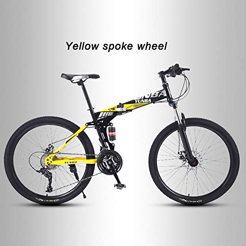 ZYZYZY Mountain Bike Adult Folding Lightweight High-Carbon Steel Road Bike Variable Speed Disc Brake All Terrain MTB Racing Bicycle C-27 Speed 24 Inches