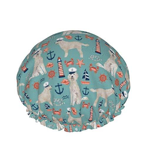 Golden Doodle - Gorro de ducha para perro náutico, color azul claro, gorros de ducha grandes para mujer, pelo largo, reutilizable, doble impermeable, para ducha, pelo, uso en el hogar