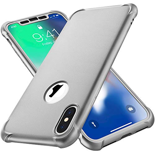 ORETECH iPhone X Hülle, iPhone XS Hülle mit [2X Panzerglas Schutzfolie] 360°Kratzfest Stoßfeste Handyhülle Hülle Ultra dünn TPU Harter PC Silikon Schutzhülle für iPhone X/iPhone XS Hülle 5,8