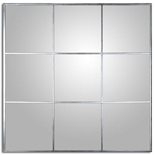 DRW 72083 Espejo de Pared Cuadrado de Metal con Forma de Ventana 120x120x2cm
