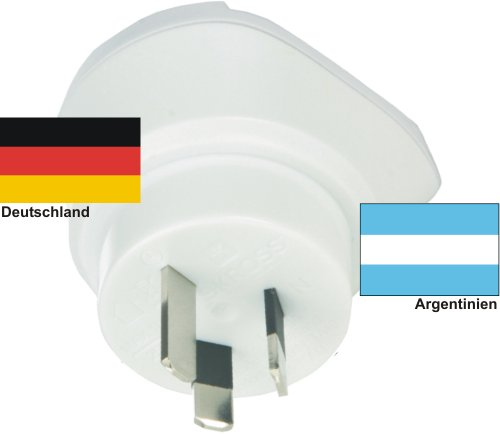 Reiseadapter Argentinien auf Deutschland für 220-230V deutscher Schukostecker - Reisestecker - Travel Plug Germany / Argentina