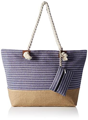 HIKARO große Strandtasche wasserabweisend und robust mit Reißverschluss Gestreift blau