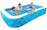 Inflatable Swimming Pool, Full-Sized Inflatable Pools, SUAYLLA 118' X 72' X 22' Thickened Blow up Pool with 4 Patches for Family, Adults, Baby, Toddlers, Kids, Backyard, Outdoor, Garden, Ground