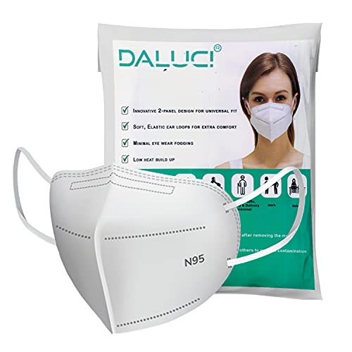 DALUCI Non-Woven Fabric Reusable N95 Face Mask Without Valve For Unisex (White, Pack of 10)