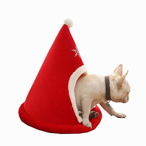 Gmjay pluche donut huisdier bed ronde kerstmuts Cartoon huisdier huis huisdier slaapzak voor kleine of middelgrote honden