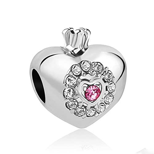 LIJIAN DIY 925 Sterling Jewelry Charm Beads Pink Heart Make Original Pandora Collares Pulseras Y Tobilleras Regalos para Mujeres