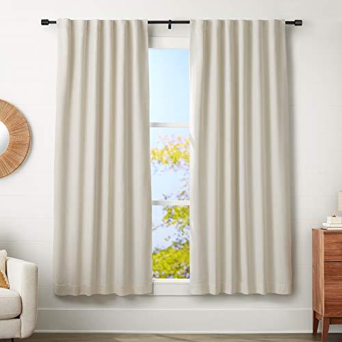 AmazonBasics - Barra para cortinas con remates con tapas, 182-365 cm, Negro