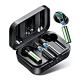 Wireless Earbuds Bluetooth, Magnetic Bluetooth Headphones Replaceable Battery, Bluetooth Headsets with Noise Isolating Volume Control for Android iOS (Black Earbuds+ Green Battery2)