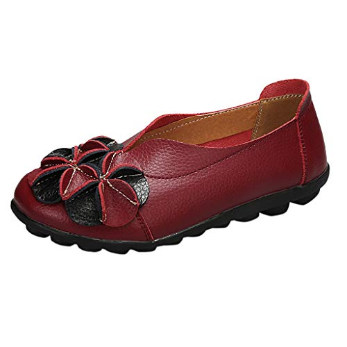 New Women Bellet Flats Leather Floral Front Slip-On Loafers Shoes Casual Non-Slip Breathe Lightweigh...