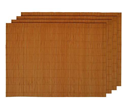 Alsino Tischset Platzmatten Platzset Unterlage Esstisch Sets Abwaschbar Home Dekoration aus Umweltfreundlichem Bambus 30 x 40 cm (4 Stück), Natur