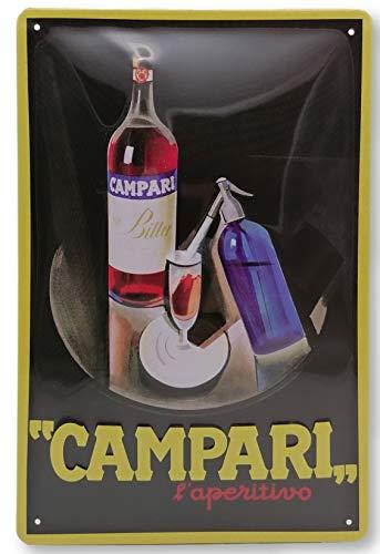 Campari Bitter Aperitif - Retro Likör - hochwertig geprägtes Blechschild, 30 x 20 cm - Barschild, Wandschild, Türschild, Dekoration