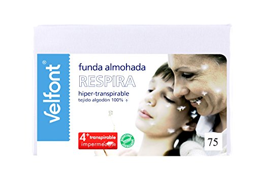 Velfont Funda de Almohada Respira 75cm. Hiper-Transpirable, Impermeable. Tejido de algodón orgánico.