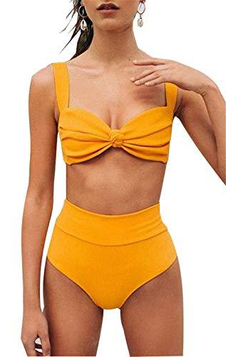Yutdeng Conjuntos de Bikinis Muje Push Up Traje de Baño 2 Piezas Color Sólido Talle Alto Grandes Sexy con Pantalones Bañadores Bañador 2020