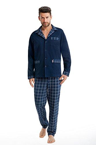 FOREX Lingerie edler Herren-Pyjama aus 100{ec0116d3bc3f705572d498a8bcdb722d79e555fdc2f385adbf2cb78e59e437fc} Baumwolle Schlafanzug Hausanzug im tollen Design, marine, Gr. 3XL