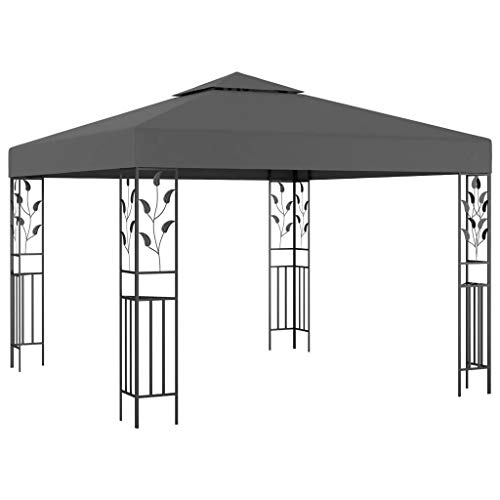 Irfora Gazebo Vented Canopy Resistant Marquee Tent without Side Panels Waterproof 3x3 m Steel Frame Anthracite