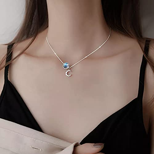 N/A Colgante de Collar de Mujer Elegante circonita Luna Caballo Colgante Collar de Piedra Lunar Gargantilla para Mujer Regalo Moda Delicada joyería Fina