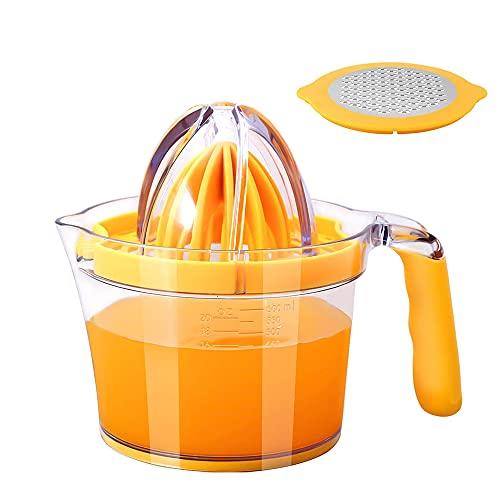 Exprimidor Manual,4 en 1 Exprimidor Manual,Exprimidor Naranjas Manual,Exprimidor Naranjas Profesional,Exprimidor Limon,Exprimidor de Granadas,Exprimidor de Cítricos Multifunción,Amarillo