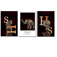 """アフリカ象動物絵画レターシャドウキャンバスアートポスターとプリントモダンなリビングルームの家の装飾40x60cm / 15.7""""x23.6""""フレームなし"""