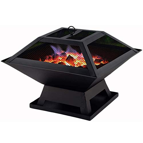 ZDYLM-Y Outdoor Patio Fire Pit, Black Square Cast Iron Brazier Heater with Mesh Spark Screen Cover and Poker, for Garden Patio Grill