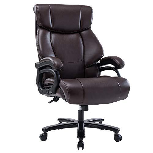 Hohe Rückenlehne Bürostuhl Chefsessel Drehstuhl aus Leder Exklusiver Computerstuhl Ergonomisches Office Stuhl Sitzhöhenverstellung Braun
