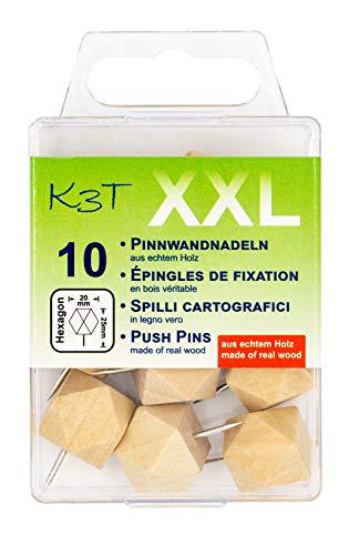 K3T Pinnwandnadeln aus Holz hexagonal XXL, 10er Packung