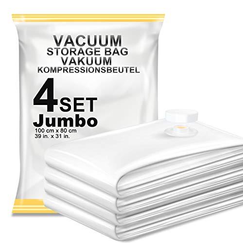 Vacbird 4 Stück Vakuumbeutel (80*100cm), Aufbewahrungsbeutel Reise Vakuum Wiederverwendbar Kleiderbeutel für Kleidung Bettdecken Bettwäsche Kissen Wolldecken Vorhänge Handtücher und vieles mehr