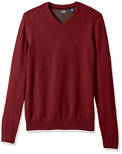 IZOD Men's Premium Essentials Solid V-Neck 7 Gauge Sweater, Biking Red 001, X-Large