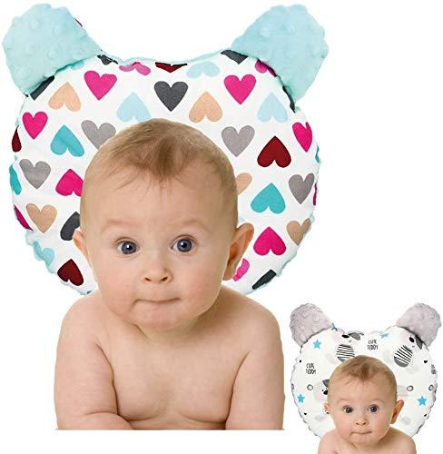 RS-Italy - Cojín para bebé plagiocefalia antireflujo antiasfixia transpirable e hipoalergénico, utilizable 0-24 meses, cojín de prevención de cabeza plana (heart)