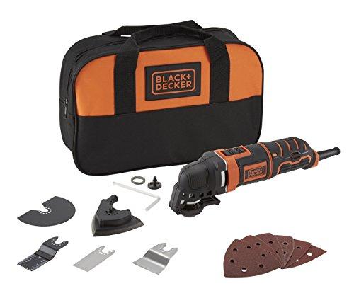Black+Decker MT300SA2 Multifunktionswerkzeug (300W, mit Super-Lok Schnellspann-System, zum Sägen, Schleifen und Spachteln, ergonomisches Griffdesign, Staubabsaugung, 12-teiliges Zubehörset)