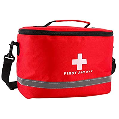 Fokanlo First Aid Bag, Drum Bag, Empty First Aid Kits Red Emergency Treatment First Responder Bag for Camping, Hiking, Backpacking, Travel, Car & Cycling, Personal Health Safe Care Bag