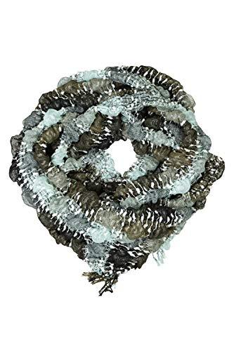 GINA LAURA Damen Schal, elastische 3D-Struktur, angenehm weich, Fransen khakigrün 1Size 714075 31-1