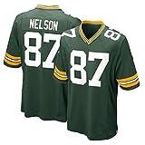 WSZS Men's Rugby Jersey NFL T-Shirt Green Bay Packers 87# Neslon Child Short Sleeve Comfortable Breathable Sweatshirt, Sports Short Sleeve V-Neck T-Shirt
