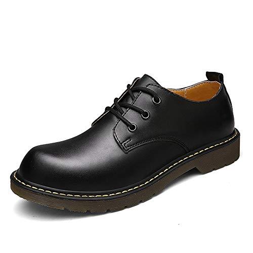 Zhengtuu Schuhe, modische Oxfords für Herren Arbeitsschuhe Casual OX Leder Schnürung Low Top Round Toe Mode, Rindsleder, Schwarz, 45 EU