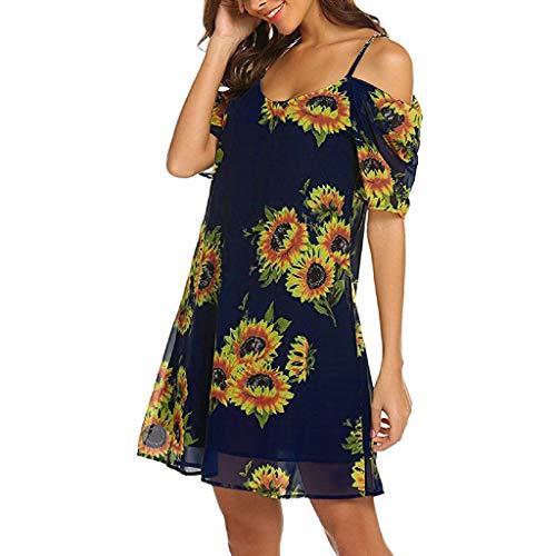 MRULIC Freizeitkleider Damen Mini A-Linie Kleider Elegant Partykleider Chinesisches Klassisches Kleid mit Rosen und Pflaumenblüten(Z10-Dunkelblau,46)