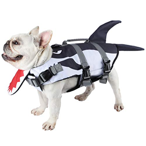 Due Felice Dog Life Jacket for Swimming Boating Pet Safety Floatation Vest Life Preserver with Rescue Handle, Small Medium Large Dogs Shark/Small