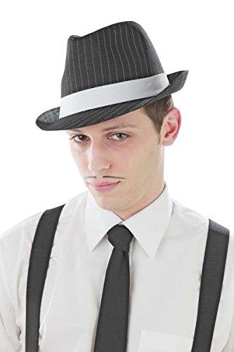 Foxxeo schwarzer 20er Jahre Nadelstreifen Hut Größe 58