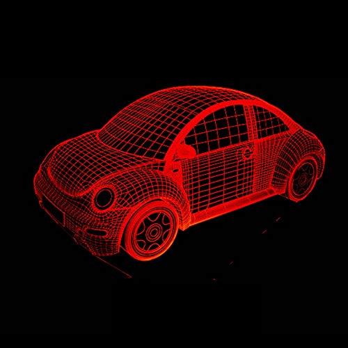 HGKDFT Auto-3D-Nachtlicht-Lampe Illusion Hauptdekor 7 Farbwechsel USB-Touch-Kunst-Skulptur Lampe (Size : Car1)