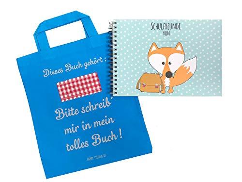 Cherry Picking Freundebuch Schule Schulfreunde Einschulung Schulkind Grundschule Poesiealbum Schulfreundebuch mit Tasche TÜRKIS