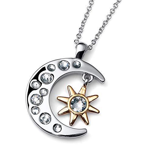 Oliver Weber Collection – rhodinierte Halskette Damen Luna • Premium Schmuck Kollektion, Anhänger mit Swarovski Kristall • Ideale Geschenkidee für Damen